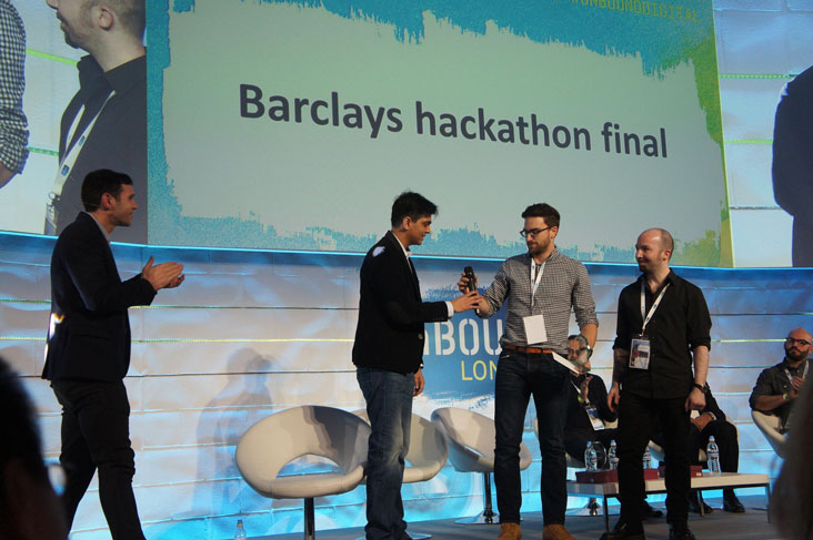 Clement Blanco and Benjamin Maugain winning at the Barclays Hackathon.