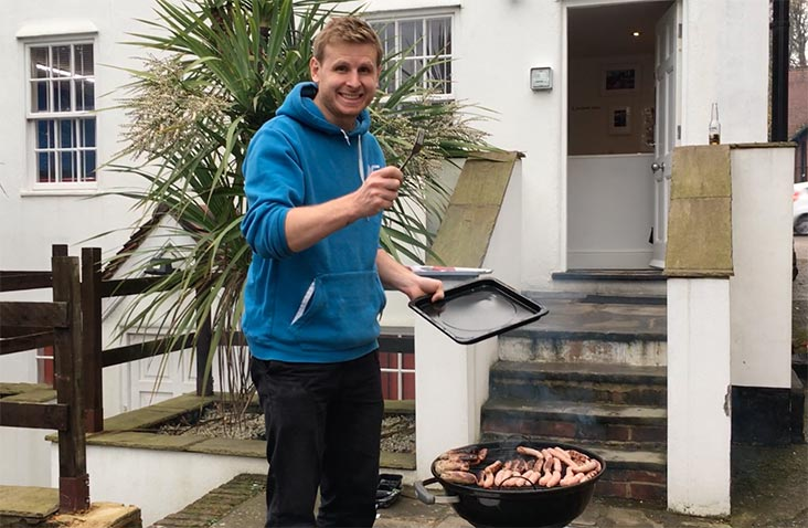 Gareth cooking on the BBQ outside the Cyber-Duck Elstree Office.