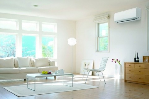Mitsubishi air conditioning unit in a quiet sunny living room.
