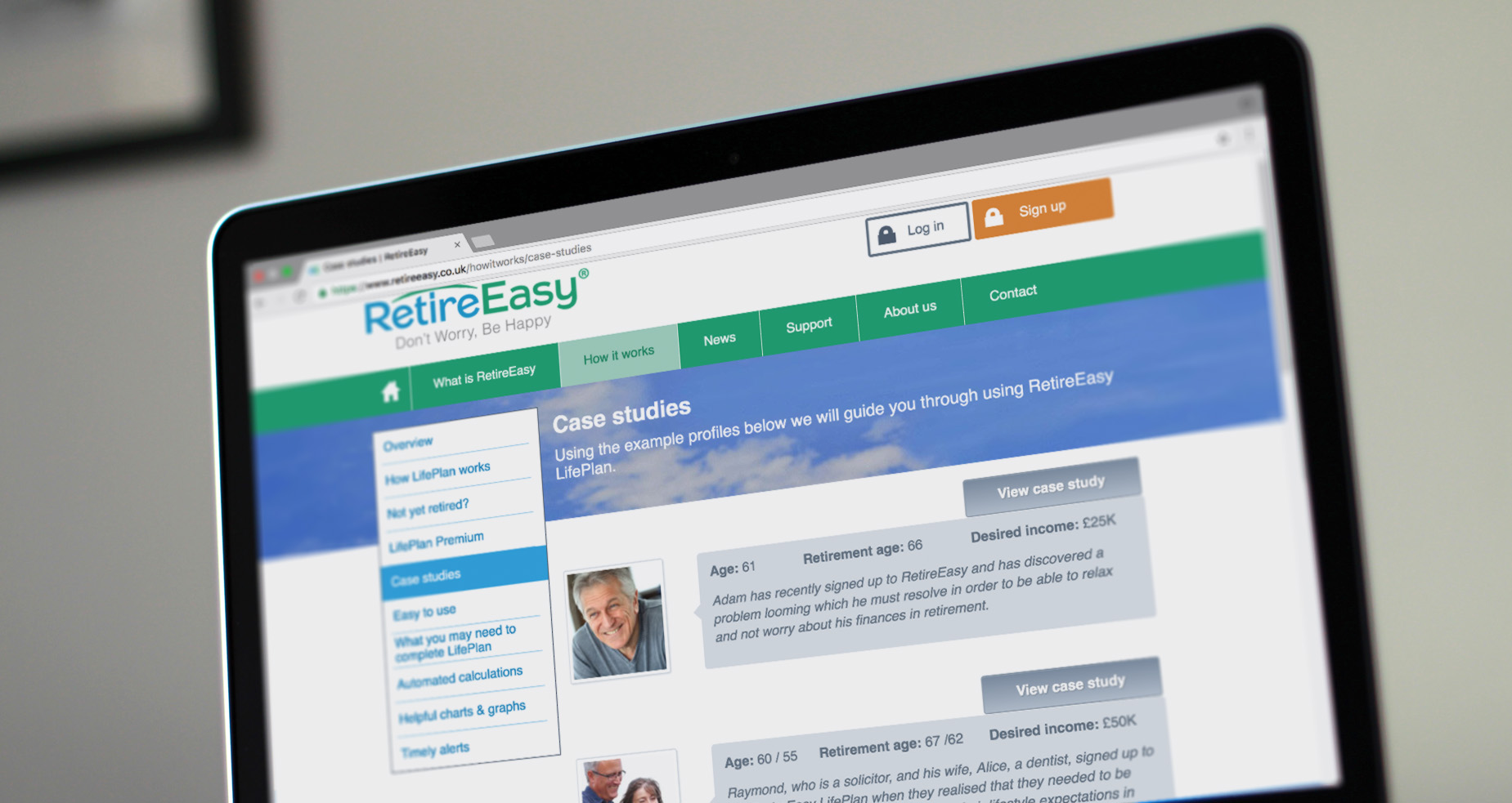 RetireEasy Retirement Planning Software on a Laptop
