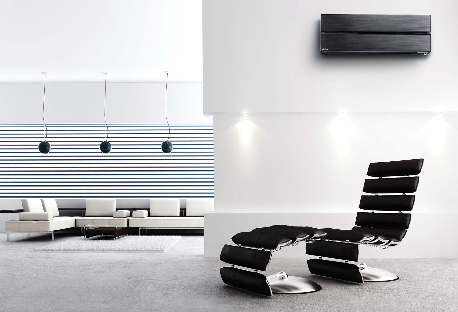 Mitsubishi Electric air conditioning unit in a modern room