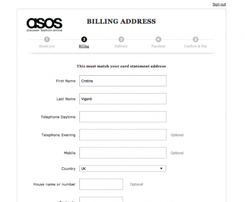 Funnelling Example using the ASOS checkout process