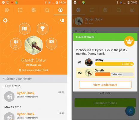Example of check-in on Swarm