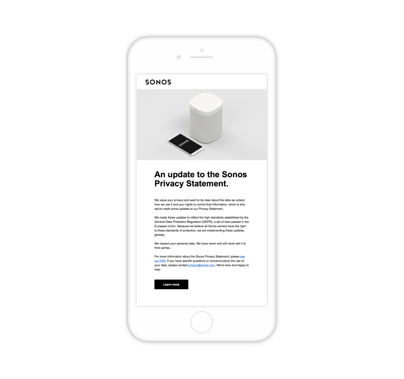 Sonos Privacy Policy on an iPhone