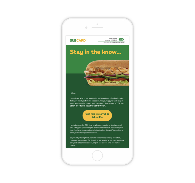 Subway 'Stay in the Know' on an iPhone