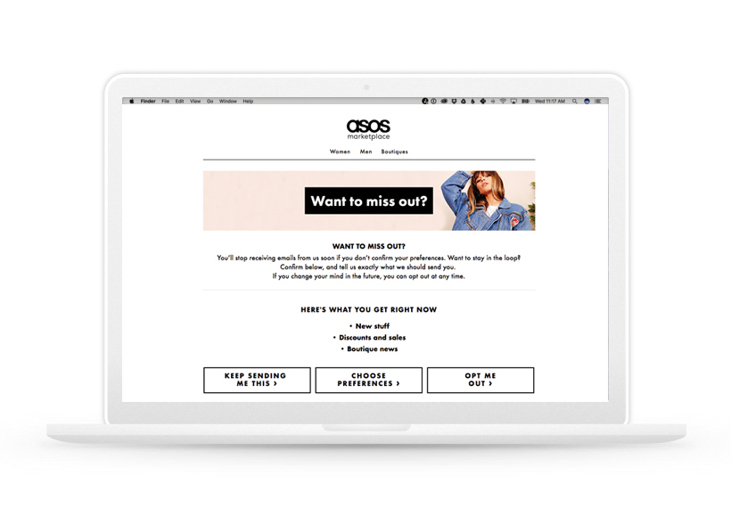 ASOS Want to Miss Out page on a Macbook