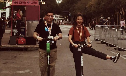 Ramon and May on scooters at SXSW