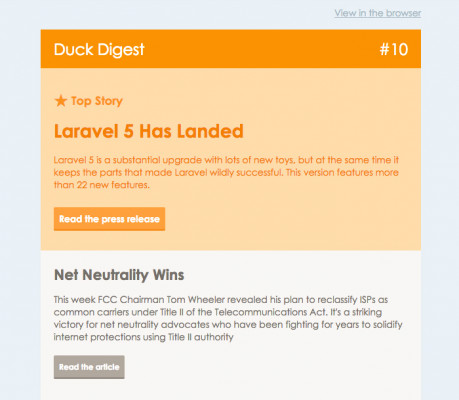 Duck Digest email campaign screenshot
