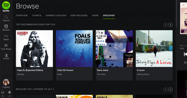 Screenshot of Spotify's Browse feature
