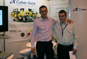 Danny Bluestone at an exhibition with Cyber-Duck in 2005
