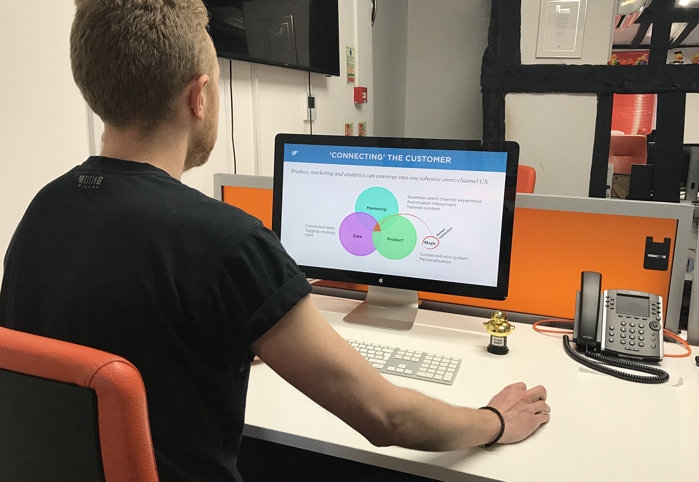 Jordan looking at a content marketing diagram