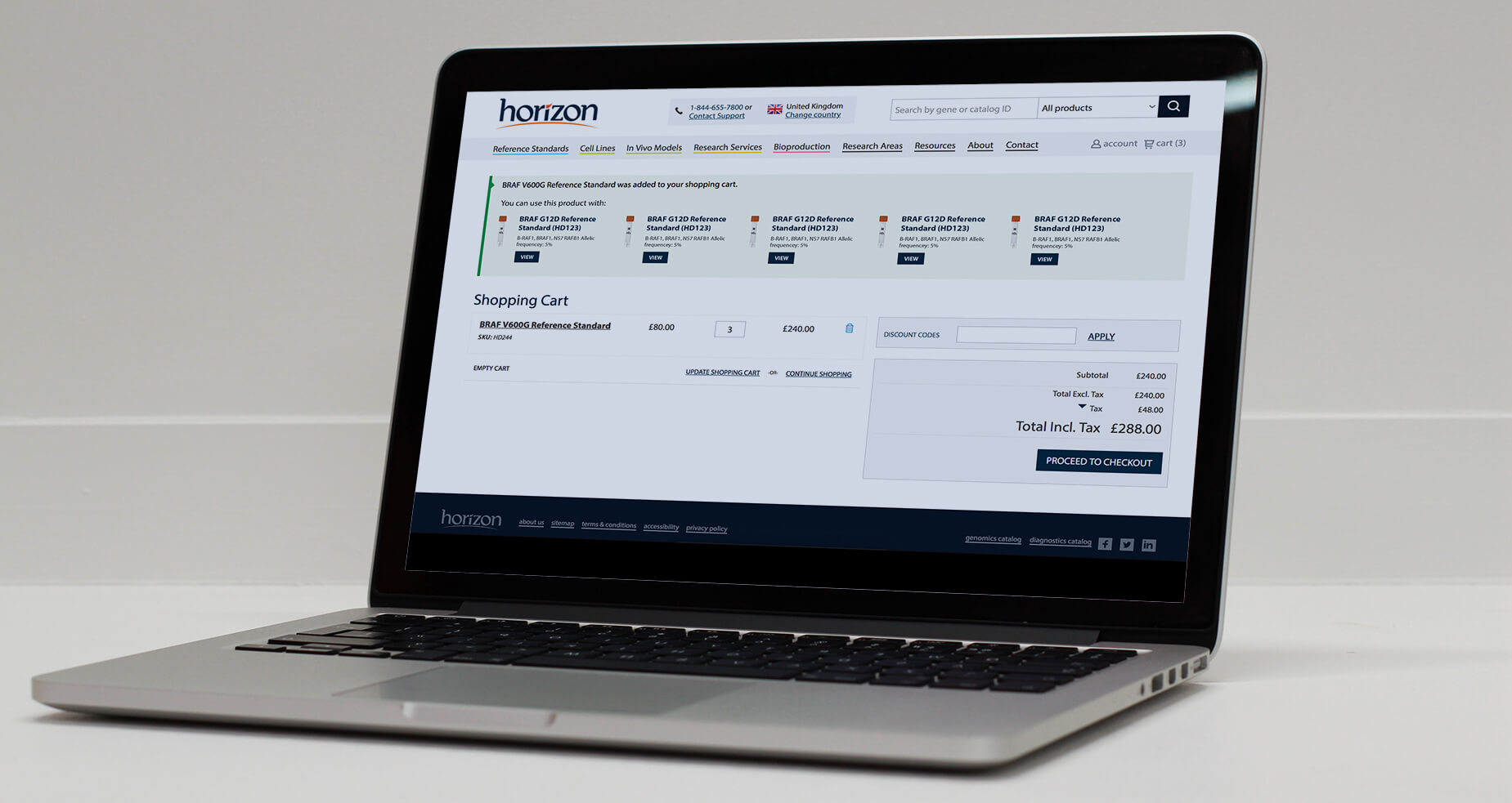 Horizon Discovery product page on a MacBook