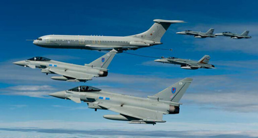 Eurofighter Typhoon squad flying through the sky