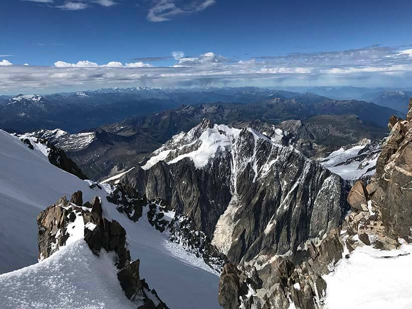 The view from the ascent of Mont Blanc