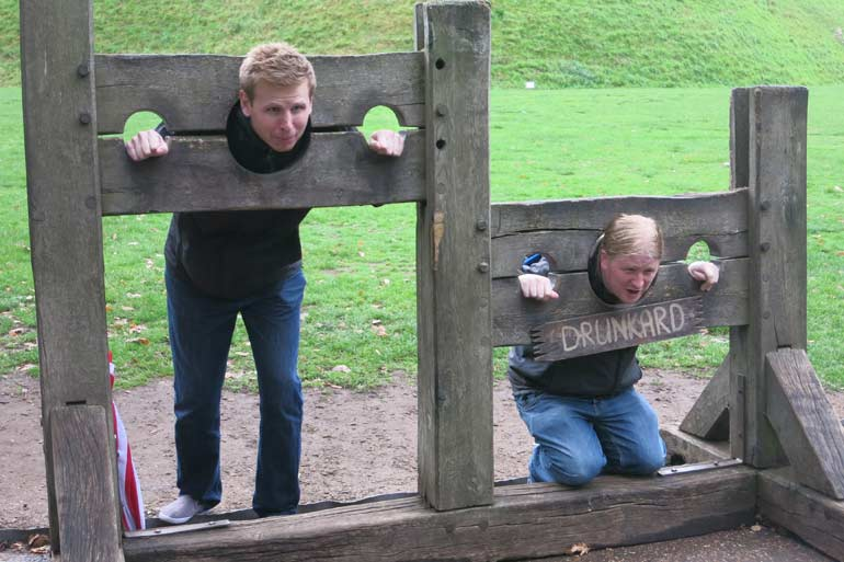 Gareth and Ben in the Stocks