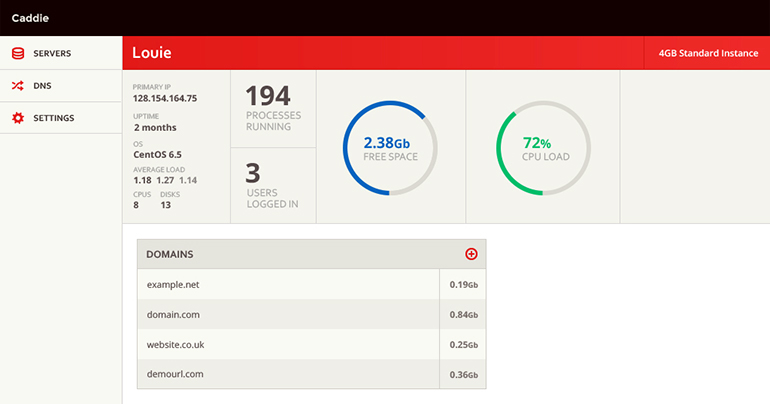 Caddie server dashboard screenshot