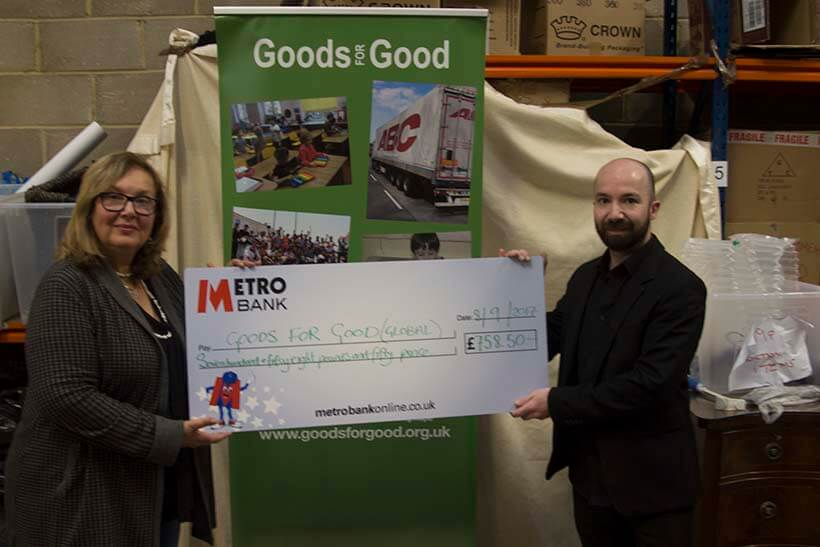 Delivering the cheque to Rosalind of Goods for Good